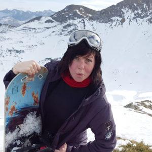 G Benson on a snowboard trip